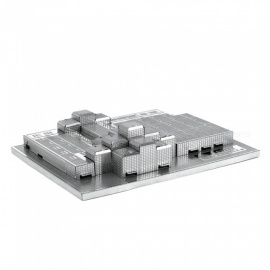 DIY Jigsaw Puzzle, 3D Stainless Steel Metal Famous Buildings Javits Convention Center Assembled Model Toy - Silver