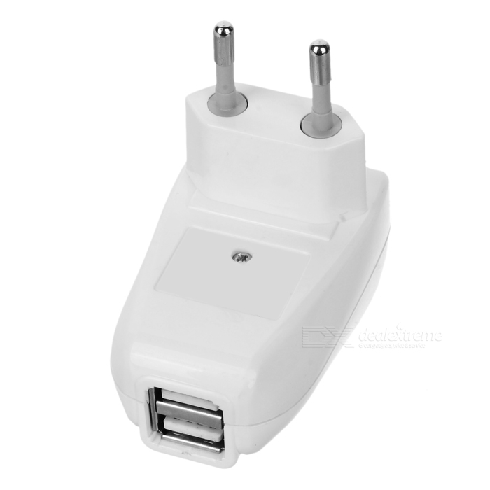 Mini Power Adapter/Charger with Dual USB Ports (100~240V/EU Plug)