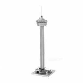 DIY Puzzle, 3D Stainless Steel Metal Modern Building American Tower Assembly Model Toy - Silver