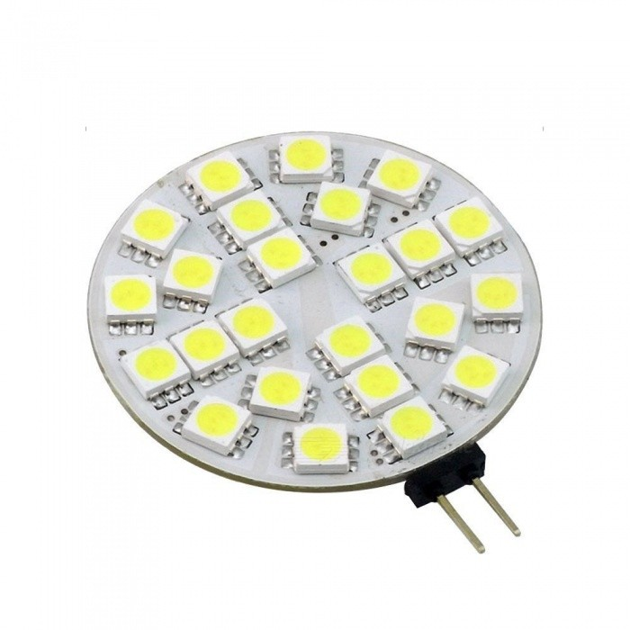 ZHAOYAO G4 5W AV/DC 12V 5050 SMD 24-LED Light - Cold WhiteG4<br>Color BINCold White, 1PC ModelG4 5050-24L-WMaterialPCBForm  ColorWhiteQuantity1 setPower5WRated VoltageOthers,AC/DC-12V VConnector TypeG4Chip BrandOthers,LEDChip Type5050Emitter Type5050 SMD LEDTotal Emitters24Actual Lumens20-450 lumensColor Temperature12000K,Others,5500-7000KDimmableNoBeam Angle180 °Packing List1 x LED<br>