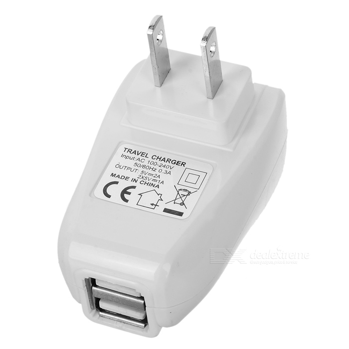 Mini Power Adapter/Charger with Dual USB Ports (100~240V/US Plug)