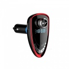 A27 Car Charger Bluetooth FM Transmitter MP3 Player with TF Card Slot - Red + Black
