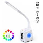 Portable Dimmable LED Desk Lamp with USB Charging Port, Pen Holder - White