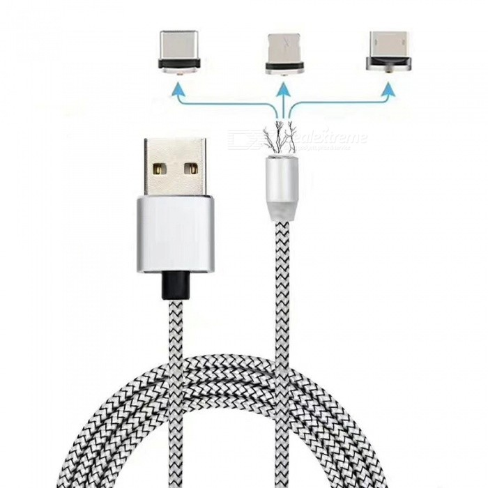 Cwxuan 3-in-1 Universal Micro USB, Type-C, 8 Pin Magnetic Charging Data Cable Kit for Phones - SilverLaptop/Tablet Cable&amp;Adapters<br>Form  ColorSilverQuantity1 setShade Of ColorSilverMaterialAluminum alloy + nylon braidedInterfaceUSB 2.0Packing List1 x Magnetic cable (100cm±2cm)3 x Metal Magnetic ports<br>