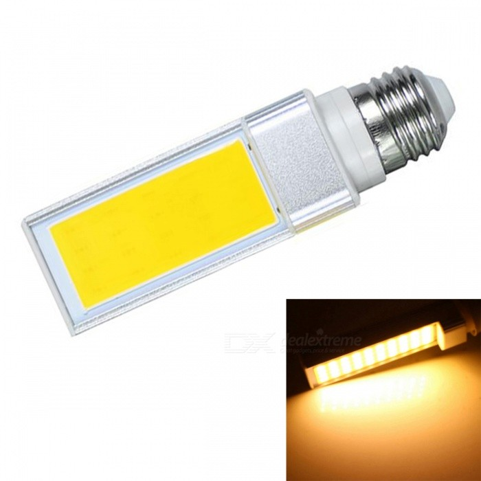 JRLED E27 7W Warm White COB LED Horizontal Plug Lamp with No Flicker (AC 85-265V)E27<br>Color BINWarm WhiteForm  ColorSilver + YellowPower7WPower SupplyAC85-265VModelN/AMaterialAluminum alloy + silica gelQuantity1 DX.PCM.Model.AttributeModel.UnitRated VoltageAC 85-265 DX.PCM.Model.AttributeModel.UnitConnector TypeE27Chip BrandEpistarChip TypeN/AEmitter TypeCOBTotal Emitters1Theoretical Lumens800 DX.PCM.Model.AttributeModel.UnitActual Lumens700 DX.PCM.Model.AttributeModel.UnitColor Temperature3000KDimmableNoBeam Angle140 DX.PCM.Model.AttributeModel.UnitWavelengthN/ACertificationCE ROHSOther FeaturesThis product is used as the light source COB light source with high brightness, low heat, light, not dazzling light uniformity and other benefits, driven by a wide voltage constant current universal voltage, no flicker, the shell is made of one high conductivity Aluminum Alloy heat dissipation, reliable quality, are exported to the world.Packing List1 x E27 COB LED Bulb<br>