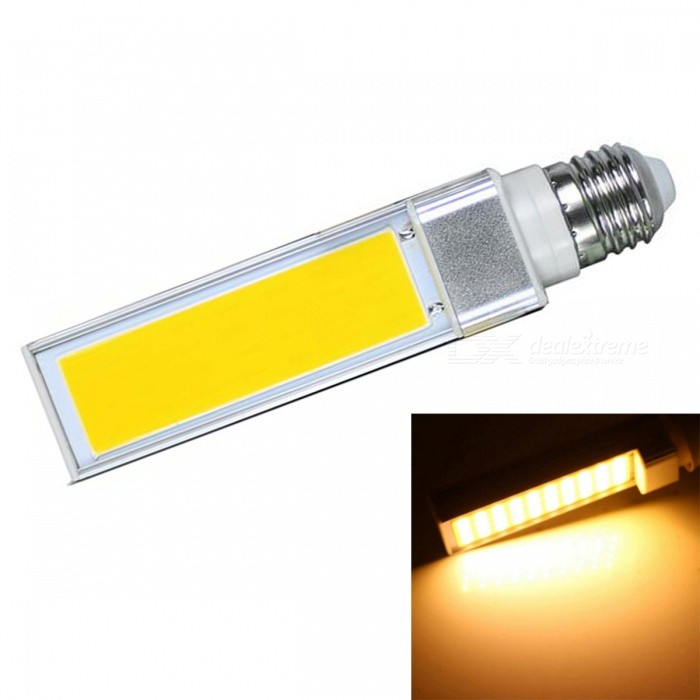 JRLED E27 9W Warm White COB LED Horizontal Plug Lamp with No Flicker (AC 85-265V)E27<br>Color BIN9W Warm WhiteModelN/AMaterialAluminum alloy + silica gelForm  ColorSilver + YellowQuantity1 piecePower9WRated VoltageAC 85-265 VConnector TypeE27Chip BrandEpistarChip TypeN/AEmitter TypeCOBTotal Emitters1Theoretical Lumens1000 lumensActual Lumens900 lumensColor Temperature3000KDimmableNoBeam Angle140 °WavelengthN/ACertificationCE ROHSOther FeaturesThis product is used as the light source COB light source with high brightness, low heat, light, not dazzling light uniformity and other benefits, driven by a wide voltage constant current universal voltage, no flicker, the shell is made of one high conductivity Aluminum Alloy heat dissipation, reliable quality, are exported to the world.Packing List1 x E27 COB LED Bulb<br>