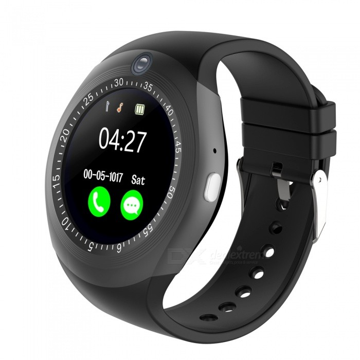1.54 Round Touch Screen Smart Watch, Supports Pedometer, Sedentary Reminder, 0.3MP Camera, Sim Card - BlackSmart Watches<br>Form  ColorBlackQuantity1 DX.PCM.Model.AttributeModel.UnitMaterialABSShade Of ColorBlackCPU ProcessorMTK6261DScreen Size1.54 DX.PCM.Model.AttributeModel.UnitScreen Resolution240*240Touch Screen TypeYesBluetooth VersionBluetooth V4.0Compatible OSSupport for IOS7 and above and Androld4.3 or laterLanguageItalian, German, Dutch, Turkish, Russian, Arabic. English, French, Spanish, PortugueseWristband Length22 DX.PCM.Model.AttributeModel.UnitWater-proofIP65Battery ModeNon-removableBattery TypeLi-polymer batteryBattery Capacity280 DX.PCM.Model.AttributeModel.UnitStandby Time5-7 DX.PCM.Model.AttributeModel.UnitPacking List1 x Smart watch 1 x USB cable1 x User manual<br>