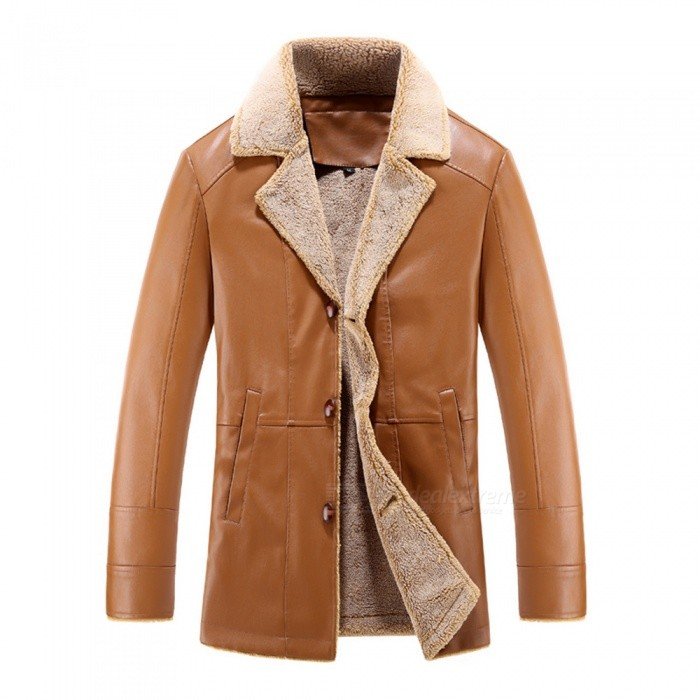 Mens Fashion PU Leather Cashmere Jacket Coat - Khaki (3XL)Jackets and Coats<br>Form  ColorKhakiSizeXXXLModel16002Quantity1 pieceShade Of ColorBrownMaterialPU + CashmereStyleFashionTop FlyZipperShoulder Width48.2 cmChest Girth117 cmWaist Girth117 cmSleeve Length66.5 cmTotal Length77 cmSuitable for Height180 cmPacking List1 x Jacket<br>