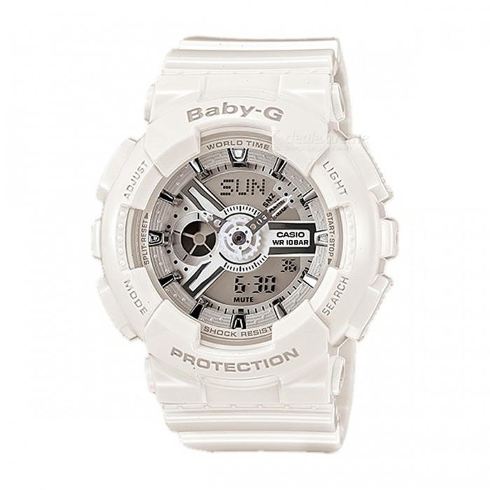 Casio baby g ba 110 7a3 ladies 39 analog digital display and black resin strap watch white for Black resin ladies watch
