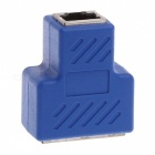 RJ45 Coupler Network Keystone Jack Female to 2 Female LAN Ethernet Splitter Connector - Blue