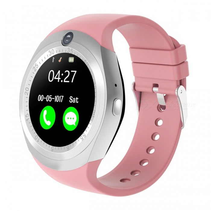 1.54 Round Touch Screen Smart Watch, Supports Pedometer, Sedentary Reminder, 0.3MP Camera, Sim Card - PinkSmart Watches<br>Form  ColorPink + Silver + Multi-ColoredQuantity1 DX.PCM.Model.AttributeModel.UnitMaterialABSShade Of ColorPinkCPU ProcessorMTK6261DScreen Size1.54 DX.PCM.Model.AttributeModel.UnitScreen Resolution240*240Touch Screen TypeYesBluetooth VersionBluetooth V4.0Compatible OSSupport for IOS7 and above and Androld4.3 or laterLanguageItalian, German, Dutch, Turkish, Russian, Arabic. English, French, Spanish, PortugueseWristband Length22 DX.PCM.Model.AttributeModel.UnitWater-proofIP65Battery ModeNon-removableBattery TypeLi-polymer batteryBattery Capacity280 DX.PCM.Model.AttributeModel.UnitStandby Time5-7 DX.PCM.Model.AttributeModel.UnitPacking List1 x Smart watch 1 x USB cable1 x User manual<br>