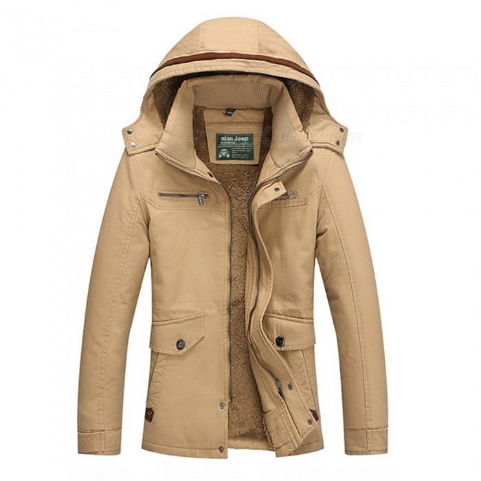 Mens Winter Fashion Velvet Padded Warm Hooded Jacket Coat - Khaki (M)Jackets and Coats<br>Form  ColorKhakiSizeMModel9868Quantity1 pieceShade Of ColorBrownMaterialCotton and polyesterStyleFashionTop FlyZipperShoulder Width42.5 cmChest Girth100 cmWaist Girth96 cmSleeve Length62 cmTotal Length67 cmSuitable for Height160 cmPacking List1 x Coat<br>