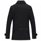 Casual Fashion Men's Thickening Cashmere Zipper Jacket Coat for Outdoor Winter - Black (XL)