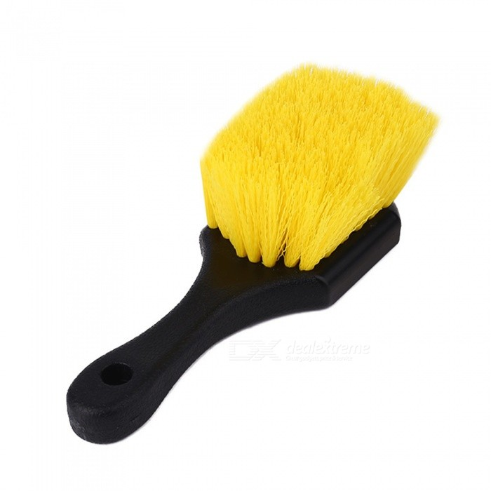 CARKING Portable Lightweight Tire Wheel Detail Cleaning Brush with Rubber Anti-slip Handle for Car AutoCar Cleaning Tools<br>Form  ColorBlack + YellowModelN/AQuantity1 pieceMaterialPlastic, RubberShade Of ColorBlackTypeCar WashesPacking List1 x Car Tire Wheel Brush<br>