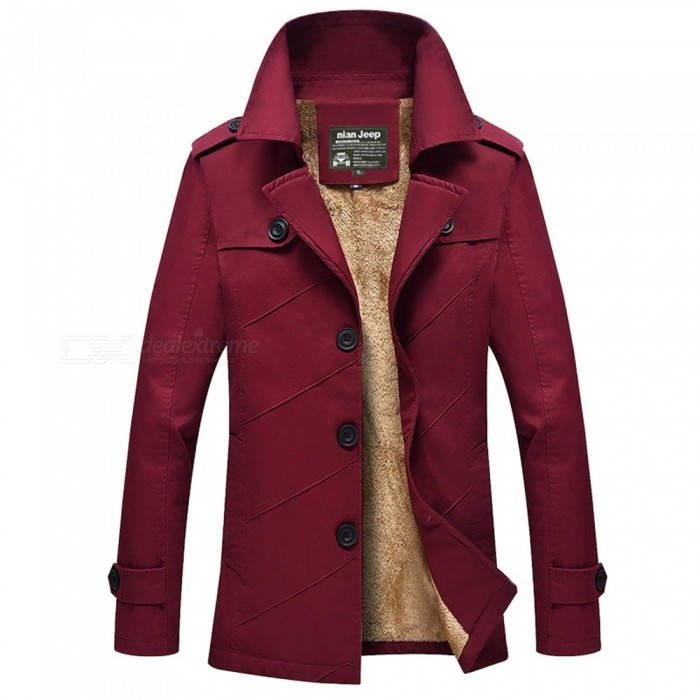 Casual Fashion Mens Thickening Cashmere Zipper Jacket Coat for Outdoor Winter - Wine Red (XL)Jackets and Coats<br>Form  ColorClaret RedSizeXLModel1111ZQuantity1 DX.PCM.Model.AttributeModel.UnitShade Of ColorRedMaterialCotton and polyesterStyleFashionTop FlyZipperShoulder Width47.4 DX.PCM.Model.AttributeModel.UnitChest Girth112 DX.PCM.Model.AttributeModel.UnitWaist Girth112 DX.PCM.Model.AttributeModel.UnitSleeve Length63 DX.PCM.Model.AttributeModel.UnitTotal Length77.5 DX.PCM.Model.AttributeModel.UnitSuitable for Height170 DX.PCM.Model.AttributeModel.UnitPacking List1 x Jacket<br>