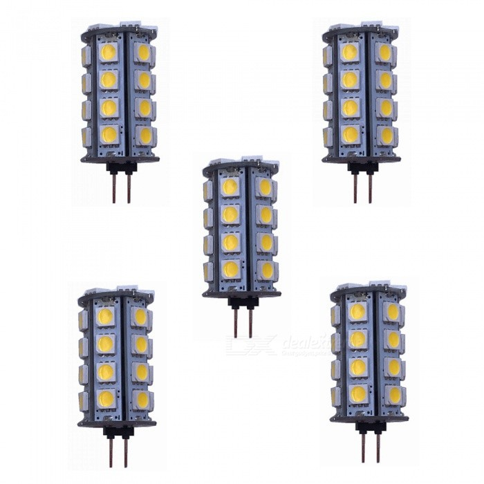 ZHAOYAO G4 5W AC/DC 12V 5050 SMD 30-LED Light Bulb - Warm White (5PCS)G4<br>Color BINWarm White, 5PCSMaterialPCBForm  ColorWhiteQuantity5 DX.PCM.Model.AttributeModel.UnitPower5WRated VoltageOthers,AC/DC-12 DX.PCM.Model.AttributeModel.UnitConnector TypeG4Chip Type5050Emitter Type5050 SMD LEDTotal Emitters30Actual Lumens200-450 DX.PCM.Model.AttributeModel.UnitColor Temperature3000KDimmableNoBeam Angle360 DX.PCM.Model.AttributeModel.UnitOther Features2800-3500KPacking List5 x LEDs<br>