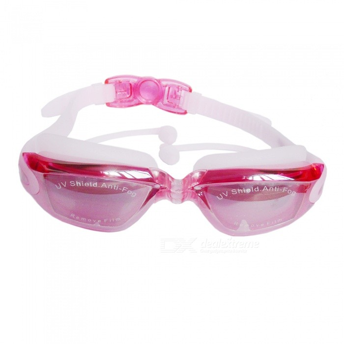 Conjoined Earplug Type Waterproof Anti-fogging Goggles w/ Polyester Carbonate Lens, Silica Gel Buckle Strap - Deep Pink