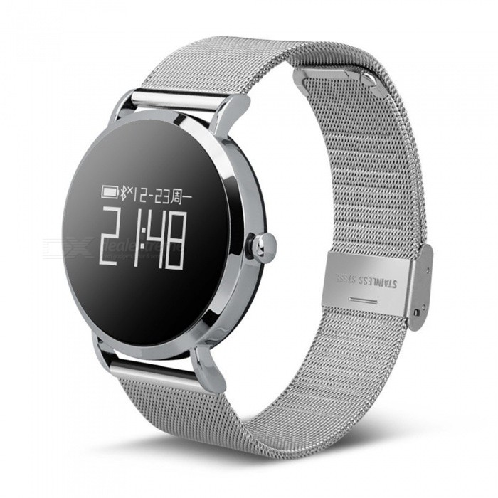 CV08 IP67 Waterproof Smart Bracelet w/ Round Touch Screen, Heart Rate Monitor, Sleep Monitor, Music Playback - SilverSmart Bracelets<br>Form  ColorSilverModelCV08Quantity1 pieceMaterialAlloyShade Of ColorSilverWater-proofIP67Bluetooth VersionBluetooth V4.0Touch Screen TypeOthers,OLEDOperating SystemAndroid 4.4,iOSCompatible OSAndroid  IOSBattery Capacity100 mAhBattery TypeLi-polymer batteryStandby Time15 daysPacking List1 x Smart bracelet1 x Charging cable 1 x User manual<br>