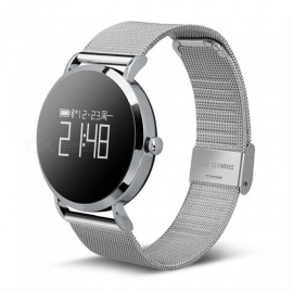 CV08 IP67 Waterproof Smart Bracelet w/ Round Touch Screen, Heart Rate Monitor, Sleep Monitor, Music Playback - Silver