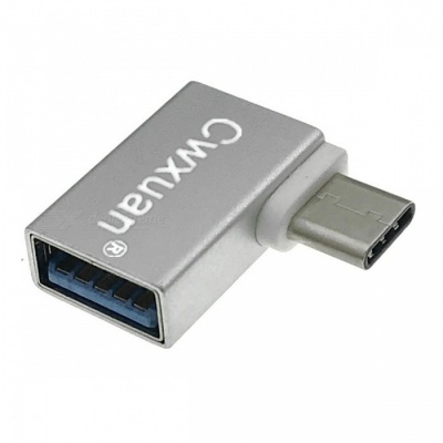 Cwxuan Aluminum Alloy USB 3.1 Type-C to USB 3.0 Female OTG Adapter w/ Right Angled 90 Degree Design - Silver