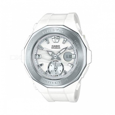 Casio Baby-G BGA-220-7A 200 Meters Water Resistance LED Light Glamping Series Watch - White + Sliver