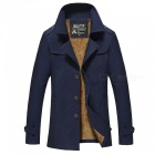 Men's Fashion Cool Outdoor Casual Thick Winter Jacket Coat - Dark Blue (L)