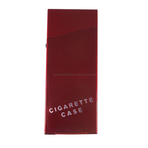 Tall and Thin Metal Cigarette Case (Red)