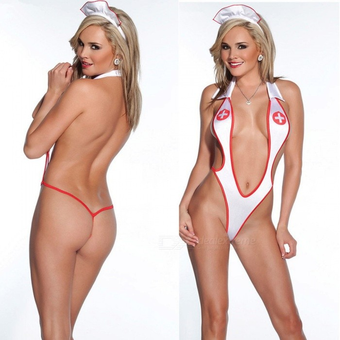 Super Sexy Nurse Uniform Temptation Siamese Lapel One-Piece Three-Point Suit Lingerie for Women, Lady (One Size)Sexy Lingerie<br>Form  ColorWhite + RedSizeFree SizeQuantity1 setShade Of ColorWhiteMaterialPolyesterStyleUltra SexyShoulder WidthNo cmChest Girth88-98 cmTotal Length68 cmPacking List1 x One-piece suit1 x Card<br>
