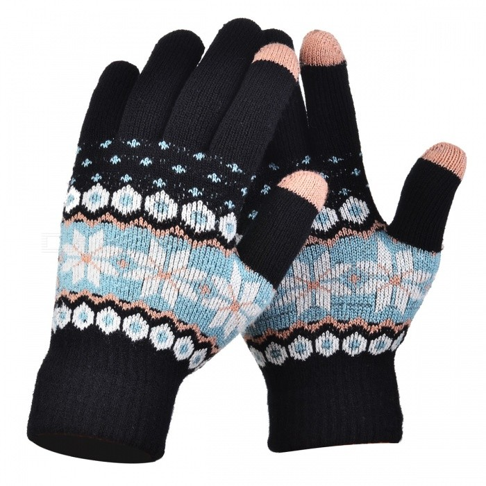 Womens Stylish Winter Touch Screen Gloves Riding Cashmere Thickened Warm Full Finger Gloves for Mobile Phone Tablet PC - BlackGloves<br>Form  ColorBlack + MulticolorSizeFree SizeQuantity1 setShade Of ColorBlackMaterialCashmereGenderWomenSuitable forOthers,UniversalStyleFashionPalm Girth48 cmMidfinger Length12 cmGlove Length20 cmPacking List1 x Pair of Gloves<br>