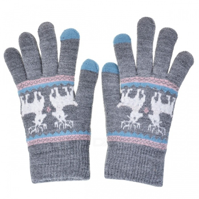 Womens Stylish Winter Touch Screen Gloves Riding Cashmere Thickened Warm Full Finger Gloves for Mobile Phone Tablet PC - GreyGloves<br>Form  ColorGrey + MulticolorSizeFree SizeQuantity1 setShade Of ColorGrayMaterialCashmereGenderWomenSuitable forOthers,UniversalStyleFashionPalm Girth48 cmMidfinger Length12 cmGlove Length20 cmPacking List1 x Pair of Gloves<br>