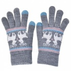 Women's Stylish Winter Touch Screen Gloves Riding Cashmere Thickened Warm Full Finger Gloves for Mobile Phone Tablet PC - Grey
