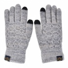 Men's Stylish Winter Touch Screen Gloves Riding Cashmere Thickened Warm Full Finger Gloves for Mobile Phone Tablet PC - Grey
