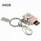 Buy Maikou Waterproof Mini Metal Camera Shaped 64GB USB 2.0 Flash Drive U-Disk - Pink