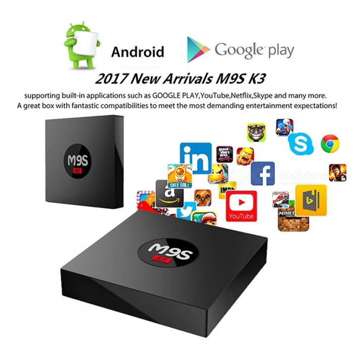 M9S K3 Android Smart TV Box RK3229 Quad-Core 4K Network Player Set Top Box with 1GB RAM, 8GB ROM - US PlugSmart TV Players<br>Form  ColorBlackBuilt-in Memory / RAM1GBStorage8GBPower AdapterUS PlugQuantity1 setMaterialABSShade Of ColorBlackOperating SystemAndroid 6.0ChipsetRK3229CPUOthers,Cortex-A53Processor Frequency2.0 GHzGPUQuad-Core Mali-450Menu LanguageEnglishMax Extended Capacity32GBSupports Card TypeMicroSD (TF)Wi-FiIEEE.802.11 b/g/nBluetooth VersionNo3G FunctionYesWireless Keyboard/Mouse2.4GAudio FormatsOthers,MP3 / WMA / AAC / WAV / OGG / DDP / HD / FLAC / APEVideo FormatsOthers,Avi / Ts / Vob / Mkv / Mov / ISO / wmv / asf / flv / dat / mpg / mpegAudio CodecsDTS,AC3,FLACVideo CodecsOthers,VC-1MPEG-1/2/4VP6 / 8Picture FormatsOthers,JPEG / BMP / GIF / PNG / TIFFSubtitle FormatsOthers,JPEG / BMP / GIF / PNG / TIFFOutput Resolution1080PHDMI2.0Power Supply5V 2APacking List1 x Smart Android TV Box1 x Remote Control1 x HD Cable1 x Power Adapter1 x English User Manual<br>