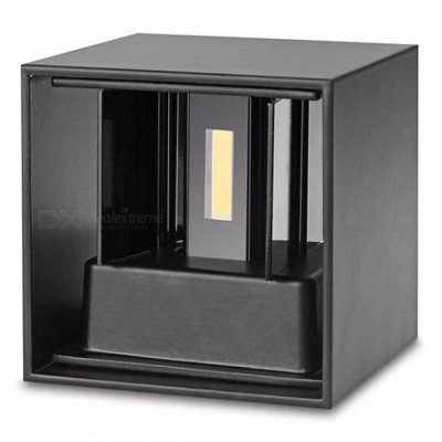 P-TOP Modern Waterproof 7W Warm White LED Wall Lamp for Indoor Outdoor Up and Down Lighting - Black