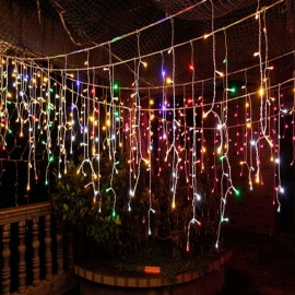 4m RGB Multi-color Ice Bar String Curtain LED Light Lantern for Outdoor Garden Festival Christmas Decoration (EU Plug)