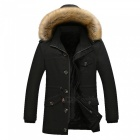11116 Men's Fashion Faux Fur Thick Casual Outwear Coat - Black (L)