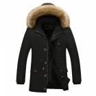 11116 Men's Fashion Faux Fur Thick Casual Outwear Coat - Black (XL)