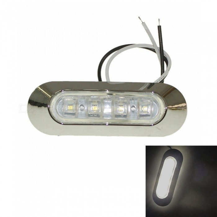 Sencart 4-LED 2835SMD Cold White Brake Side Marker Light, Truck Trailer Indicator Lamp (AC/DC 10-30V)Decorative Lights / Strip<br>Color BINCold WhiteModelSide IndicatorQuantity1 pieceMaterialABSForm  ColorSilver + WhiteEmitter TypeOthers,2835SMDChip BrandCreeTotal Emitters4Color Temperature6500-7000 KRate Voltage10-30VPower1WActual Lumens80-120 lumensWater-proofYesApplicationSignal light,Indicator lampPacking List1 x 4-SMD-2835 LED Lamp2 x Screws (2.5cm)<br>