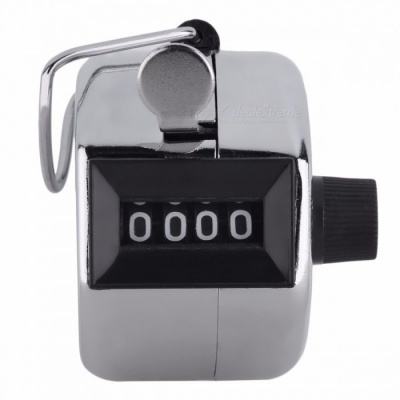 4 Digit Number Clicker Golf Digital Chrome Hand Tally Clicker Counter Pedometer - Silver
