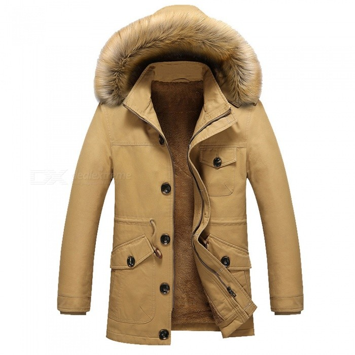11116 Mens Fashion Faux Fur Thick Casual Outwear Coat - Khaki (L)Jackets and Coats<br>Form  ColorKhakiSizeLModel11116Quantity1 pieceShade Of ColorBrownMaterialCotton and polyesterStyleFashionTop FlyZipperShoulder Width47.5 cmChest Girth114 cmWaist Girth114 cmSleeve Length61 cmTotal Length75 cmSuitable for Height165 cmPacking List1 x Coat<br>