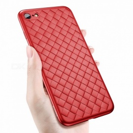 Baseus creative grid silicone ultra fino y lujoso funda de TPU para IPHONE 8 IPHONE 8 plus 7 7 plus IPHONE X para iphone 8 / sexy red
