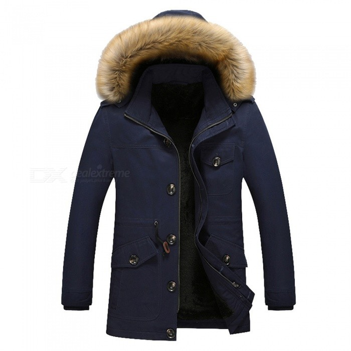 11116 Mens Fashion Faux Fur Thick Casual Outwear Coat - Dark Blue (L)Jackets and Coats<br>Form  ColorDeep BlueSizeLModel11116Quantity1 pieceShade Of ColorBlueMaterialCotton and polyesterStyleFashionTop FlyZipperShoulder Width47.5 cmChest Girth114 cmWaist Girth114 cmSleeve Length61 cmTotal Length75 cmSuitable for Height165 cmPacking List1 x Coat<br>