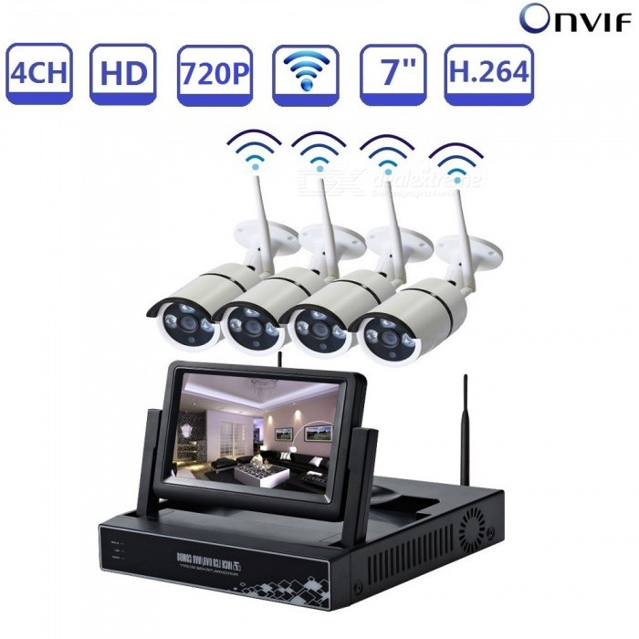 STRONGSHINE 4CH HDMI 4Pcs 1.0MP HD Cameras, IR Outdoor Weatherproof 720P 7 NVR CCTV Security System Kit - EU PlugNVR Cards &amp; Systems<br>Form  ColorBlack + WhitePower AdapterEU PlugModelST-NVR6407NM-W-KITMaterialMetal + plasticQuantity1 setSystem ResourcesMulti-channel real-time recording synchronously,Multi-channel real-time playback,USB back upOperating SystemWindows 7,Android 3.0,Android 3.1,Android 3.2,Android 4.0,Linux,Windows 8,iOSRemote MonitoringNoPower AdaptorYesPower SupplyOthers,DC12VMobile Phone PlatformAndroid,iOSWorking Temperature-20~50 ?Working Humidity10%~90%Video StandardsH.264Decode FormatH.264Multi-mode Video InputWireless /wiredMotion DetectionYesAudio Compression FormatAACAudio Input4 channelsAudio  Output1 ChannelVideo Input4 channelsVideo Output4 channelsMonitor Quality1280*720Playback Quality1280*720Encode CapabilityH.264Decode CapabilityH.264Record ModeManual,Motion DetectionVideo SearchTime,Date,Channel SearchStorageNoVideo StorageLocal HDD,NetworkBack up ModeNetwork backup,USB portable,HDDUSBUSB 2.0HDD PortSATAForm  ColorBlack + WhitePower AdapterEU PlugPacking List1 x 4CH 720P Wireless NVR1 x Power supply for NVR1 x Mouse for NVR 4 x 1.0MP WIFI IP cameras1 x 1M Network cable4 x Power supply for camera1 x User manual1 x Screw and other parts for camera and NVR<br>