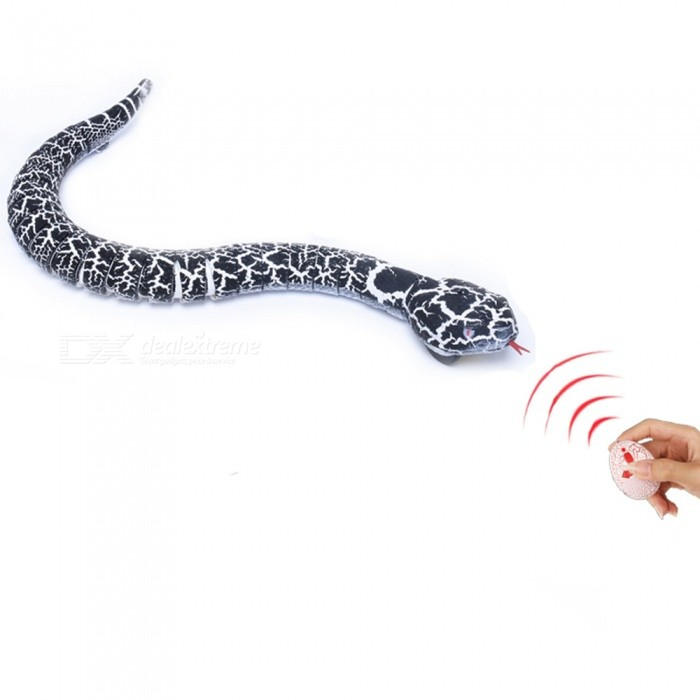 Novelty Remote Control Snake Rattlesnake Animal Trick Terrifying Mischief Toy for Kids - Black