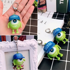 Fashion Mini LED Big Eyes Boy Cartoon Doll Key Chain w/ Sound Effect for Handbag Phone Decoration