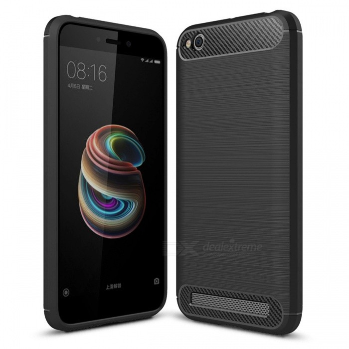 Dayspirit Wire Drawing Carbon Fiber TPU Case for Xiaomi Redmi 5A - Black