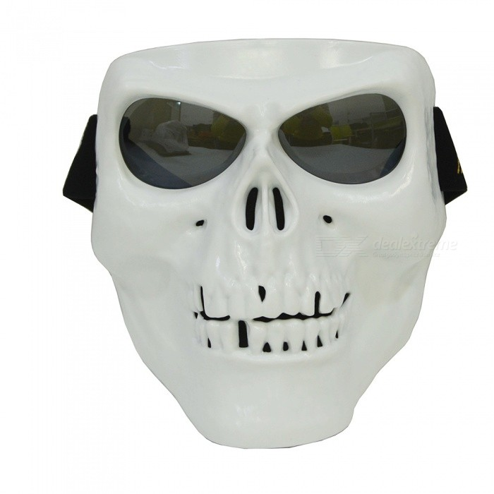 CARKING Creepy Horror Skull Protective Mask for CS Paintball Movie Party Cosplay Game Props - White + Translucent BlackMasks<br>Form  ColorWhite + Translucent BlackQuantity1 pieceMaterialTPRGenderUnisexSuitable forAdultsPacking List1 x Skull Mask<br>