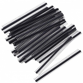 Single Row 40Pin 2.54mm Male Pin Header Connector - Black (50 PCS)