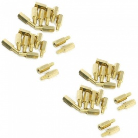 ZHAOYAO M3x6mm Male to Female Thread Hex Copper Pillars - Golden (10mm / 100 PCS)